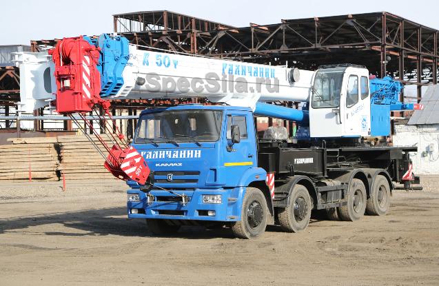 Аренда автокрана Галичанин 50 тонн 34+9 метров